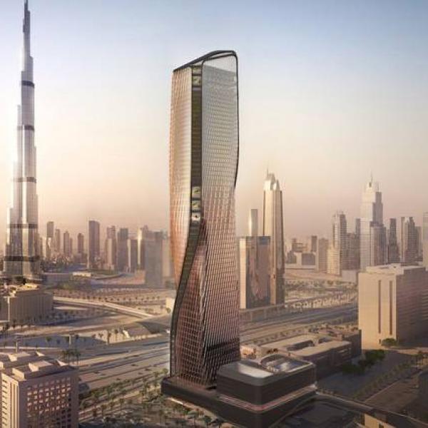 Work at Dubai's Wasl Tower in progress